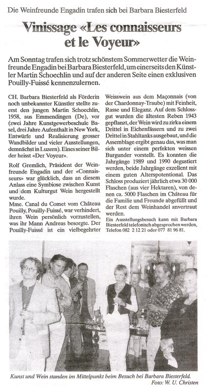 Sie sehen Bilder aus dem Artikel: Ausstellung 1992 - Vinissage 'Les connaiseurs et le Voyeur'